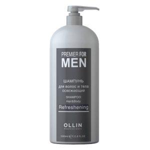 Шампунь для волос и тела освежающий Ollin Premier for men 1000 мл